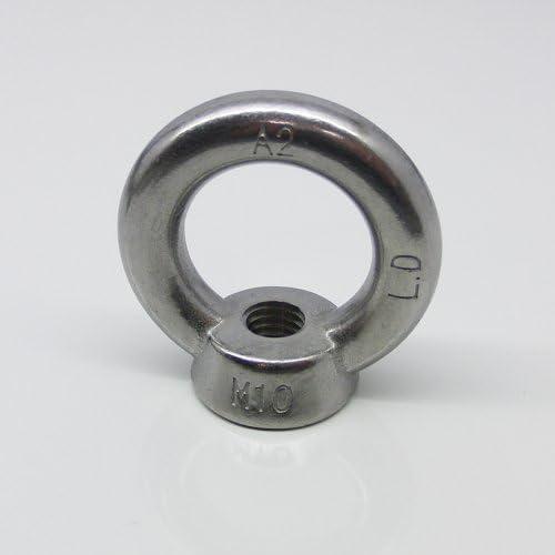 poliert /ähnl 10 St/ück Ringschrauben M6 gegossen u DIN 580 Edelstahl A2