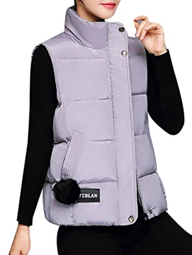 Yasong Women Padded Puffer Quilted Vest Gilet Bodywarmer Sleeveless Jacket Grey