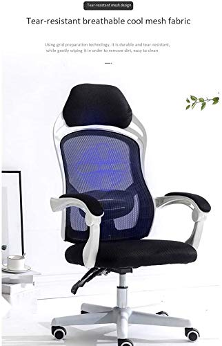 ZXL ergonomiskt tyg mesh kontorsstol, datorstol, stor sittbordsstol, nätkontorsstol, justerbar och svängbar stol med ländrygg stöd (färg: Vit)