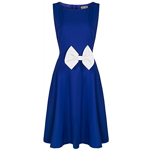 Lindy-Bop-Lela-Cute-Vintage-1950s-Style-Bow-Detail-Skater-Dress