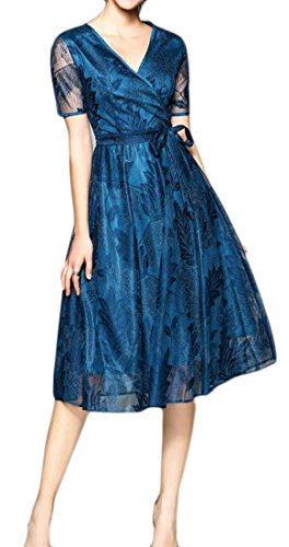Swing Womens Lace Short Sleeve Neck A Line Dress Belted Blue Cruiize Midi V x8qdgSgw