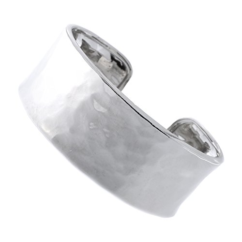 Italian Sterling Silver Rhodium Plated 26mm Hammered Cuff Bracelet, 7.5'' by Beauniq