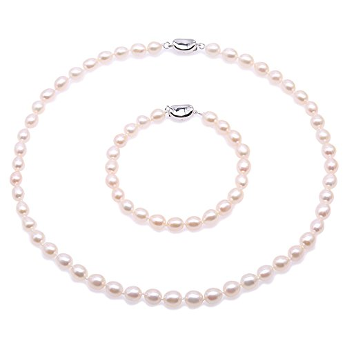 Set Pearl Oval - JYX Pearl Necklace 6-7mm White Oval Cultured Freshwater Pearl Necklace and Bracelet Set