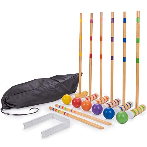 Set Croquet Tournament - Crown Sporting Goods Six-Player Travel Croquet Set with Drawstring Bag | Family-Sized Set of 6 Wooden Mallets, 6 Colored Balls, 9 Wickets, 2 Stakes | Classic Family Yard, Lawn, Outdoor Games