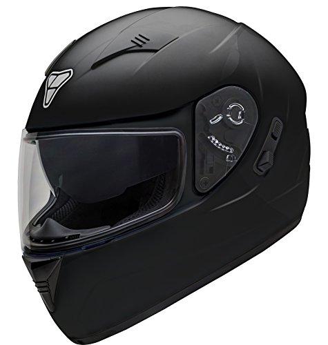 Pilot Motosport ST-17 Full-Face Motorcycle Helmet DOT/ECE (Black, X-Large)