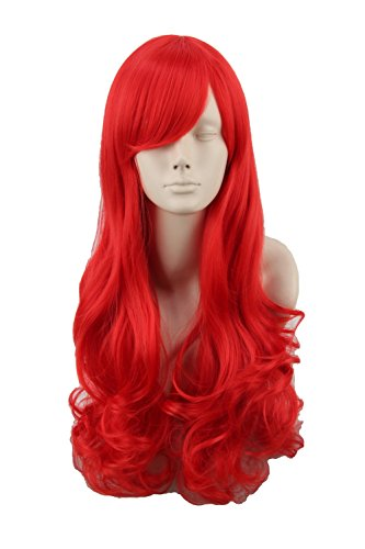 [Women Wig Curly Long Cosplay Halloween Costuems Wig Hair Synthetic Fiber Red] (Adult Ariel Costumes)