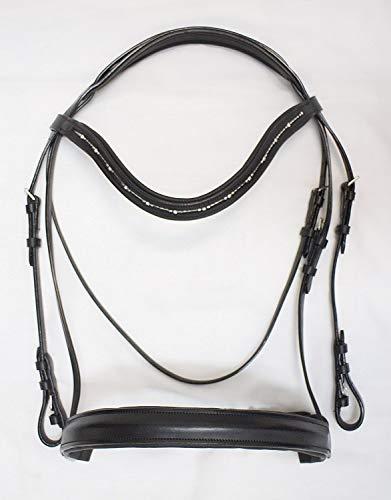 - Delfina Dressage Bridle Black with Dutch Drop Browband French Crank Cavesson COB Size