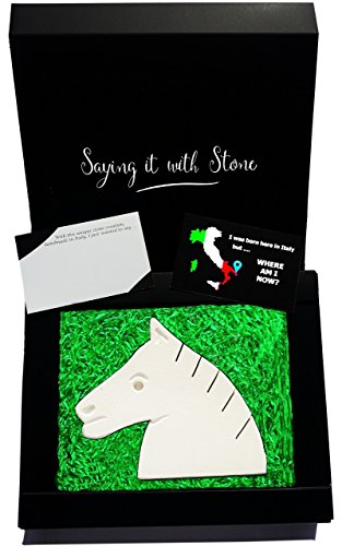 Saint Valentine's gift idea for real horse lovers. HandMade in Italy from a rare Italian stone contains fossil fragments - Elegant gift box and message card included. Wife anniversary birthday present
