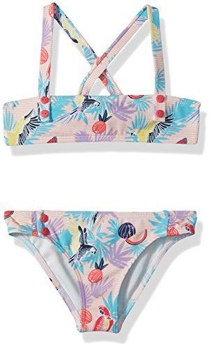 Roxy Little Girls' Vintage Tropical Bandeau Swimsuit Set, Tropical Peach Parrots Island, 6 (Bandeau Tropical)