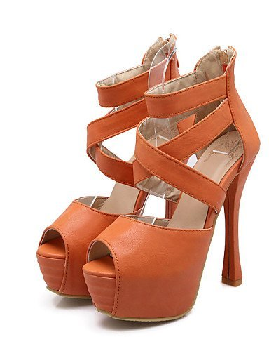 Orange Red Heel Shoes Leatherette amp; Peep Women's ShangYi Sandals Red Toe Office Dress Career Stiletto Platform Heels IaZw5q
