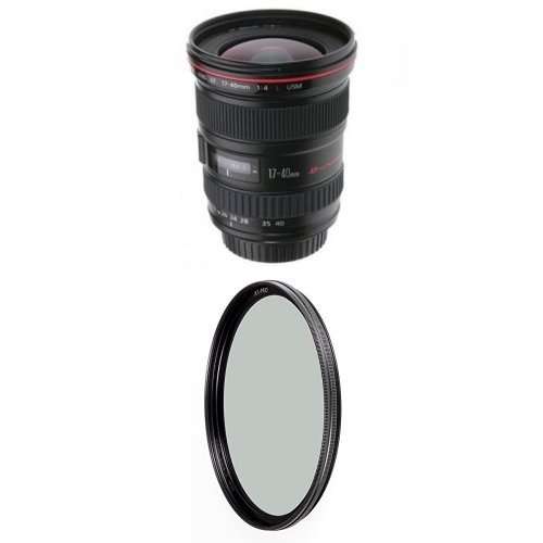 Canon EF 17-40mm f/4L USM Ultra Wide Angle Zoom Lens for Canon SLR Cameras w/ B+W 77mm XS-Pro HTC Kaesemann Circular Polarizer (Iv Type 30' Ring)