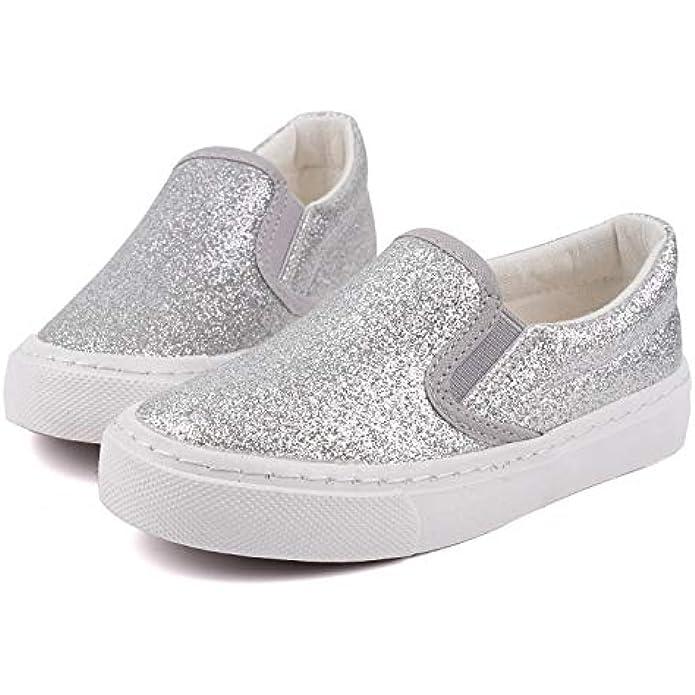 Toandon Low Top Slip On Glitter Canvas Sneakers for Little Kids