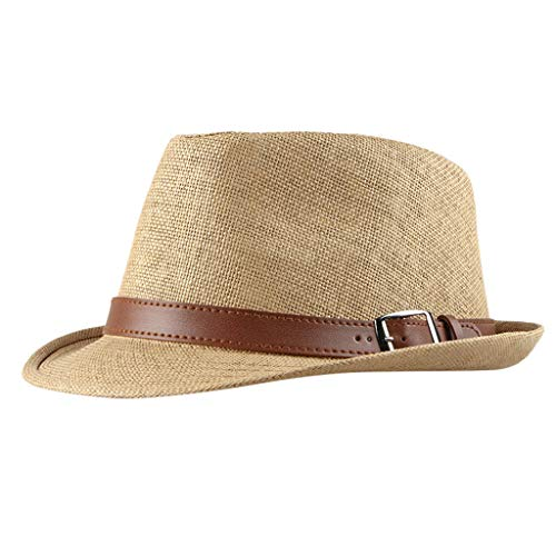 Unisex Summer Cool Woven Straw Fedora Hat & Stylish Hat Band Summer Packable Sun Summer Beach Hat Cuban Travel Hat (Khaki)