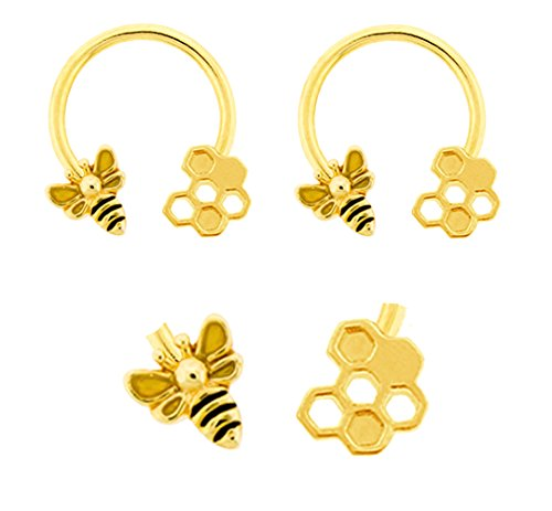 Pair of Gold Bee & Honeycomb bumble bee gold plated Horseshoe Ring lip, belly, nipple, septum, earring hoop 14g