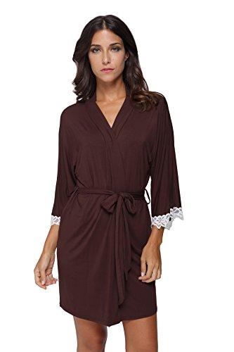The Bund Women's Short Sleepwear Modal Cotton Knit Robe-Lace Trim, S Brown