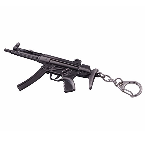 Mallofusa Miniature Gray Metal Mp5 Assault Rifle Gun Model Keychain Bag Pendant for Key ring