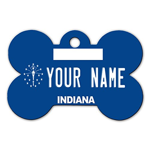 BleuReign(TM) Personalized Custom Name Indiana State License Plate Bone Shaped Metal Pet ID Tag with Contact Information