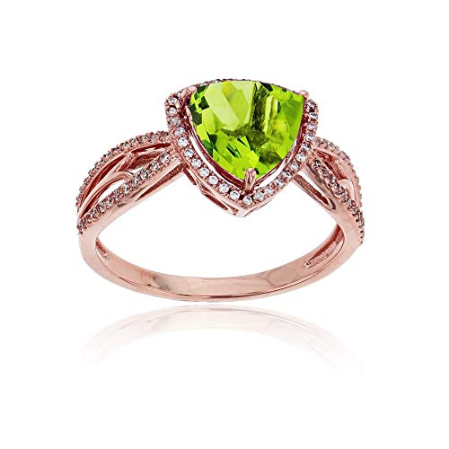 (Sterling Silver Rose 0.20 CTTW Round Diamond & 8mm Trillion Peridot Split Shank Ring)