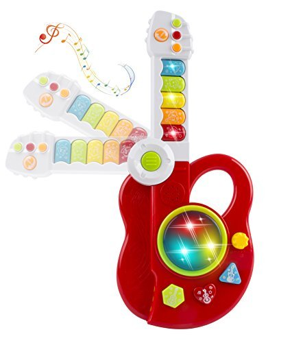 Toy Guitar 3-in-1 Musical Toy Guitar,Keyboard,Jazz Drum 3D Light Toy for Kids Musical Instrument Playset w/ Music, Lights (Red) by Vokodo (Image #1)