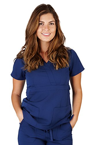 Ultra Soft Brand Scrubs - Premium Womens Junior Fit 3 Pocket Mock Wrap Scrub Top, Navy 36150-X-Small by ULTRASOFT SCRUBS (Image #2)