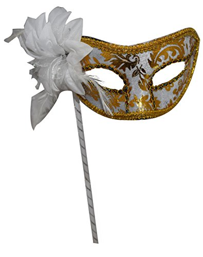 Woman's Christmas Halloween Black Purple Red White Feather Flower Plastic Masquerade Mask on Stick -