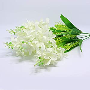 Nadalan Single Bunch of Artificial Flowers Hyacinth Real-Touch Silk Arrangement Bouquet Fake Flowers for Home Décor (Hyacinth-White) 46