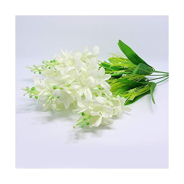 Nadalan Single Bunch of Artificial Flowers Hyacinth Real-Touch Silk Arrangement Bouquet Fake Flowers for Home Décor (Hyacinth-White)