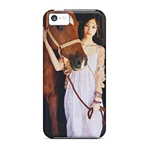 Iphone 5c Case Cover - Slim Fit Tpu Protector Shock Absorbent Case (horse Girl)