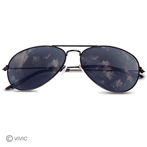 Mirrored Aviator Sunglasses Metal Frame Vivic Gray