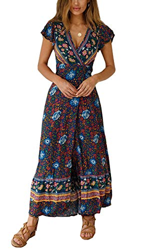 (PRETTYGARDEN Women's Summer V Neck Wrap Vintage Floral Print Short Sleeve Split Belted Flowy Boho Beach Long Dress (129 Navy, X-Large))
