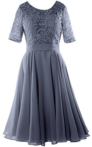 MACloth Elegant Short Mother of the Bride Dress Half Sleeves Lace Formal Gown Steel Blue