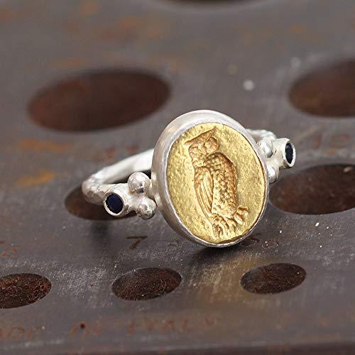 made Roman Art 2 Tone Owl Coin Ring Turkish Designer Jewelry by Omer ()