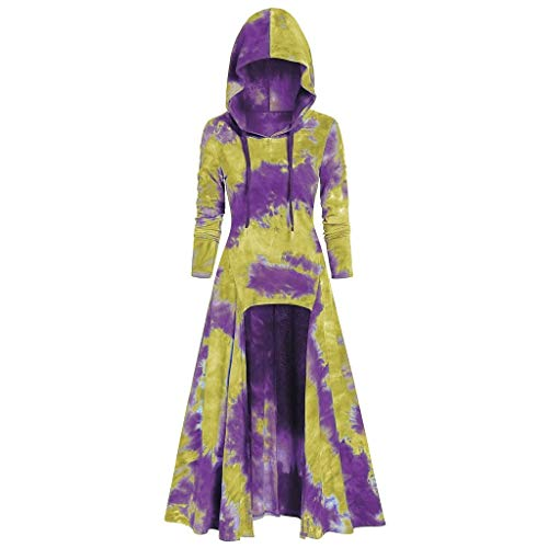 LOKODO Womens Hooded Plus Size Vintage Cloak High Low Dress Halloween Gothic Retro Gowns Cosplay Maxi Dress Yellow 3XL