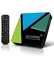 Gecen Smart-TV-box, Bluetooth TV-box, Android 10.0 TV-box, 4 GB RAM / 64 GB ROM 3D 4K @ 30fps hoge resolutie RK3318 Quad-Core-Cortex-A53-CPU, ondersteunt 2,4 GHz WiFi H.265
