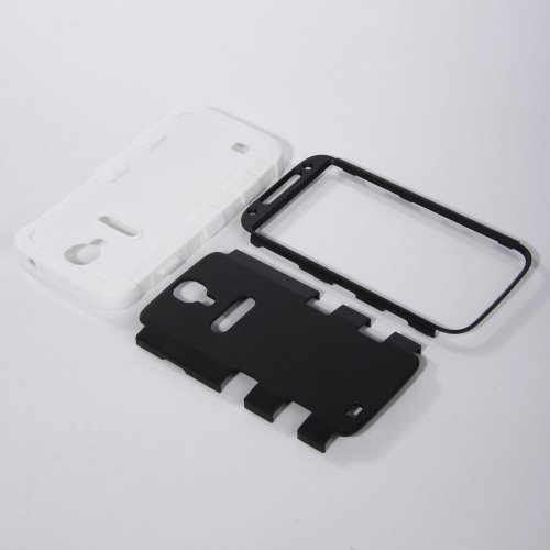 "myLife White - Black Matte Robot Design (3 Piece Hybrid) Hard and Soft Case for the Samsung Galaxy S4 ""Fits Models: I9500, I9505, SPH-L720, Galaxy S IV, SGH-I337, SCH-I545, SGH-M919, SCH-R970 and Galaxy S4 LTE-A Touch Phone"" (Fitted Front and Back Solid Cover Case + Internal Silicone Gel Rubberized Tough Armor Skin)"