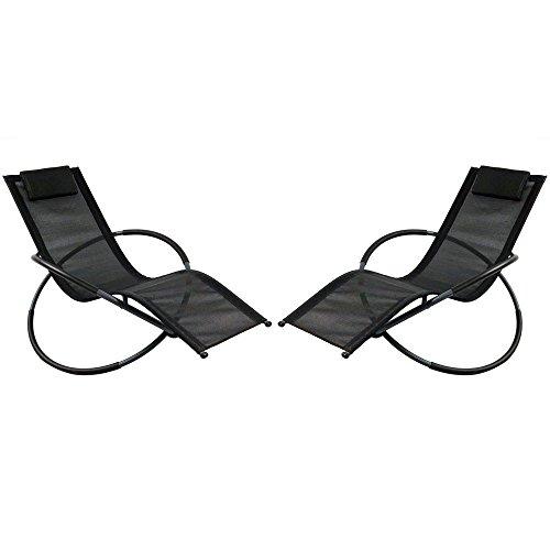 Sunnydaze Orbital Outdoor Folding Zero Gravity Rocking Lounger w Pillow, Black, Set of 2