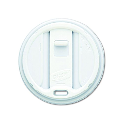 Dixie TP9542 Smart Top Reclosable Plastic Dome Lid for Dixie 10 oz., 12 oz., 16 oz., and 20 oz. Paper Hot Cups, White (Case of 10 Packs, 100 Lids per Pack) -