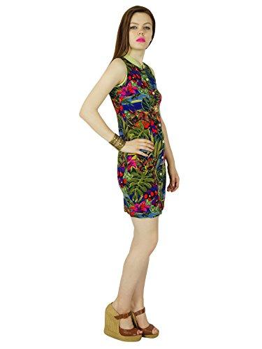 Femmes Bimba Courte Bouton Robe Moulante Robe Personnalisée Vers Le Bas Rayonne Multicolore Multicolor