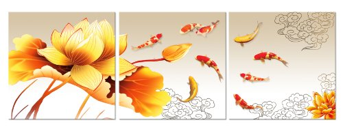 LOTUS FLOWERS AND KOI FISH/FengShui Inspired ready to hang 3 piece picture wall art print mounted on fiberboard/better than stretched canvas arts/size 12x12x0.4