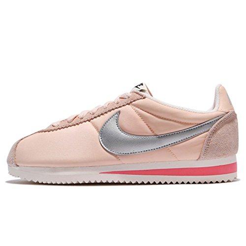 NIKE Womens Classic Cortez Nylon Orange Quartz/Chrome-Sail Sneaker (Large Image)