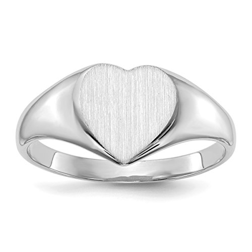 Roy Rose Jewelry 14K White Gold Solid Closed Back Signet Ring Heart Shape Custom Personailzed with Free Engraving Available Initial ~ Size (Mens Solid Back Signet Ring)