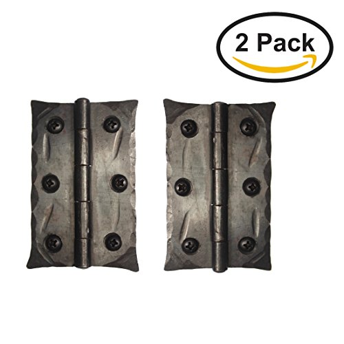(2 Pack) Hand Forged Door Hinges Antique Cabinet Black Wrought Iron Made Wax - Antique Hinges For Cabinet Doors: Amazon.com