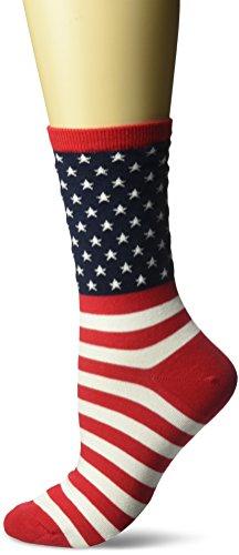 Hot Sox Women's Originals Classics Novelty Crew Socks, Flag (Red), Shoe Size: 4-10 ()