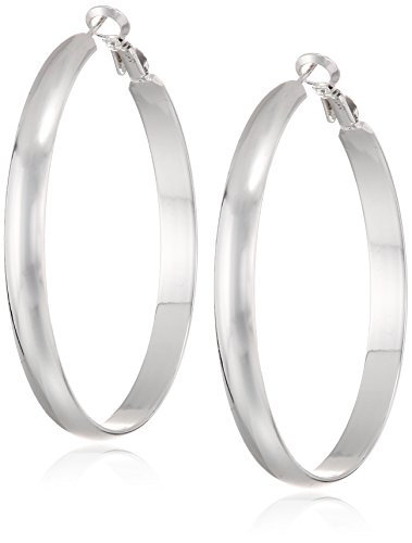 Polished Flat Round Hoop (Silver Plated 50MM Flat Polished Hoop Earrings with Click Top)