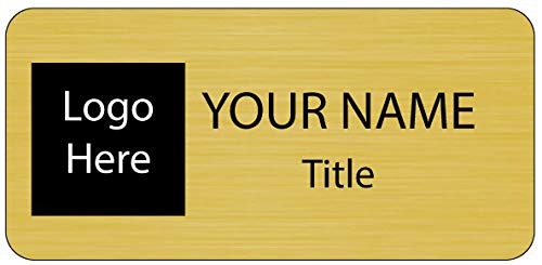 Business Name ID/Badge Custom Full Color Printing - Choice of Magnet or Pin (Brushed Gold)