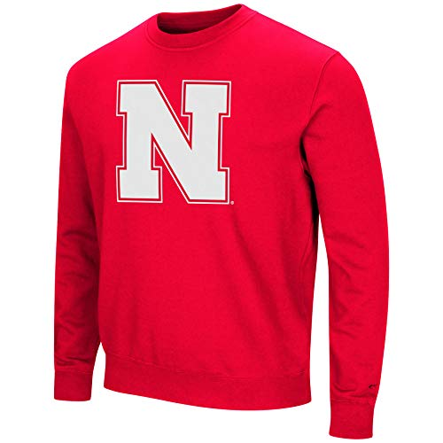 Colosseum NCAA Men's -Playbook- Crewneck Fleece Sweatshirt with Tackle Twill Embroidered Lettering-Nebraska Cornhuskers-Scarlet-XL