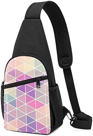 ボディ肩掛け 斜め掛け カラフルな幾何学 ショルダーバッグ ワンショルダーバッグ メンズ 軽量 大容量 多機能レジャーバックパック