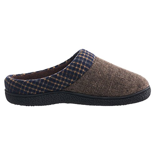 Isotoner Men's Plaid Hoodback Slippers (Medium, Taupe)