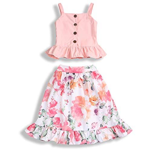 (Toddler Little Girls Summer Skirt Set Camisole Buttons Top Floral Ruffled Dress Outfits (5-6 T, Pink #)