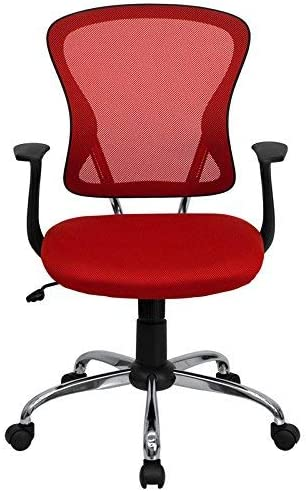 Flash Furniture Mid-Back White Mesh Swivel Task Chair with Chrome Base and Arms – H-8369F-WHT-GG
